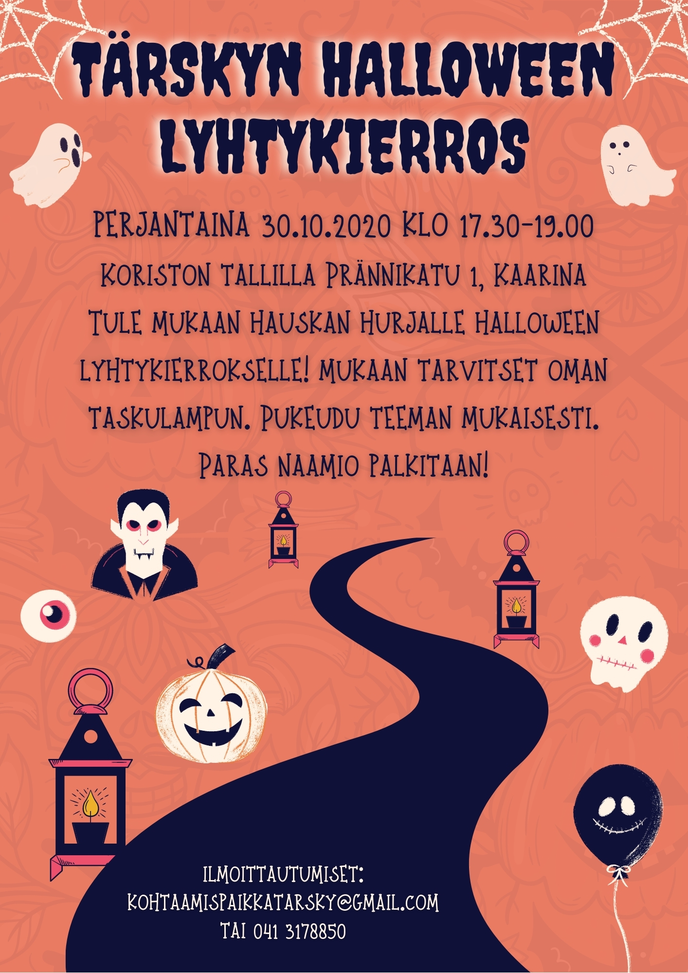 Kopio_ Orange Monsters Hand-drawn Playful Halloween Grown-up Party Invitation